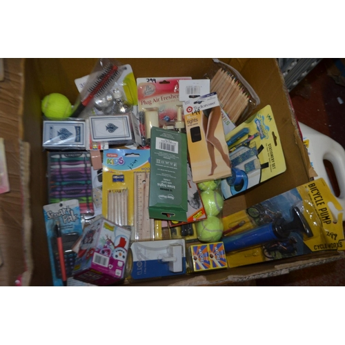 39 - FULL BOX OF VARIOUS ITEMS, BIKE PUMP, PENCIL AND CRAYON SETS, BALLS AND MUCH MORE...