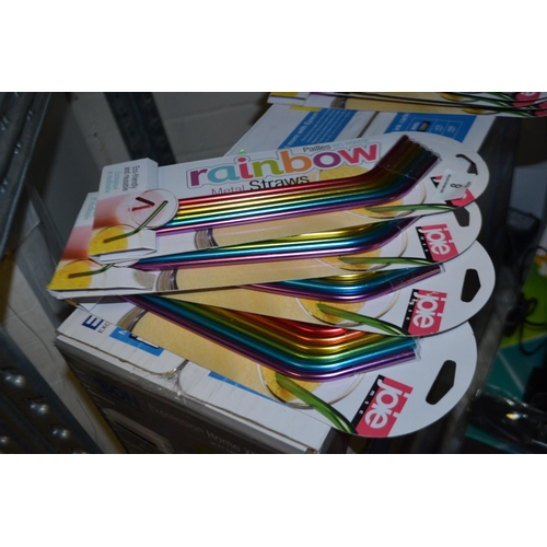 9 - X4 PACKS OF RAINBOW METAL STRAWS RRP £20...