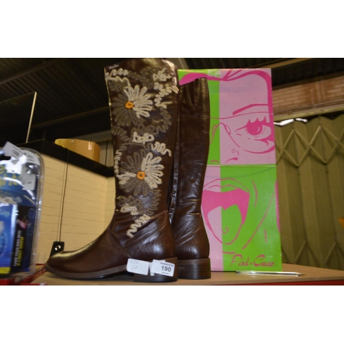 190 - PAIR OF DESIGNER BOOTS SIZE 5 RRP £65...