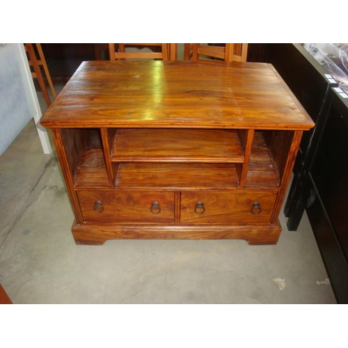 Teak Wood Tv Stand With Two Bottom Drawers