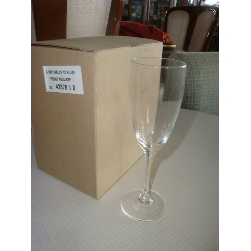 57 - 6 Vap Malys 13 Flute Cherry Glasses-As New Boxed...