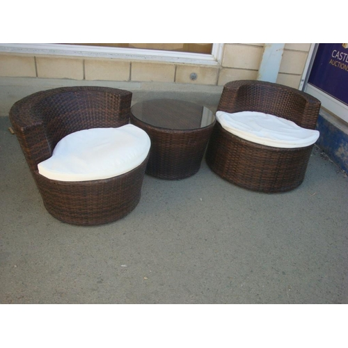 5 - Pair of Rattan Cushioned Chairs with Rattan coffee Table...