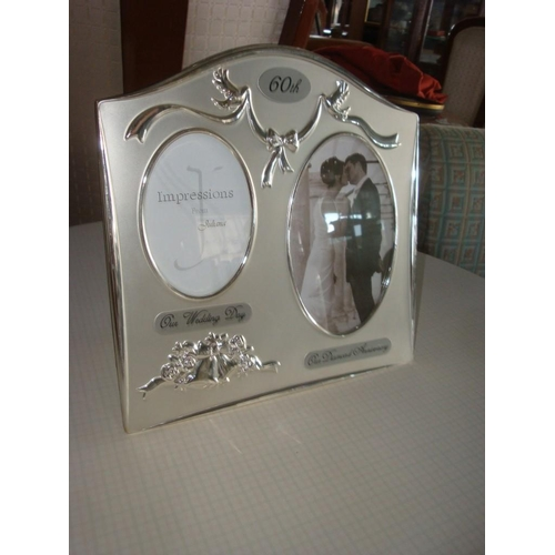 50 - Two Tone Silver Plated 60th Wedding/Anniversary Picture Frame...