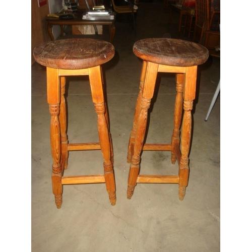 41 - Pair of Vintage Pine Wood stools...