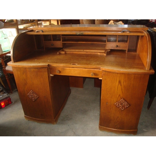 1 - Large Antique Roll Top Writing Desk Bureau...
