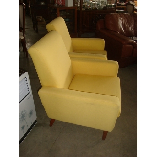47 - Pair of Yellow Armchairs (1960's)...