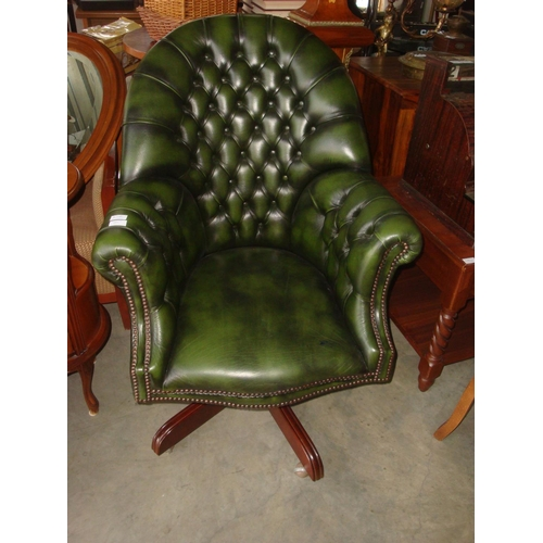1 - Chesterfield High Back Green Leather Directors/ Captains Chair...