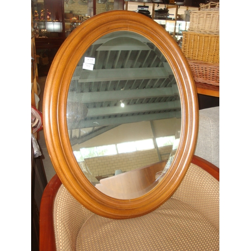 22 - Wooden Bevelled Oval Mirror...