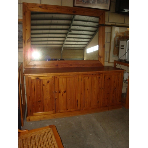26 - Pine Wood Buffet Unit with Large Mirror...