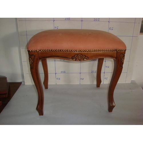 40 - Carved Wood & Velvet Upholstered Stool...