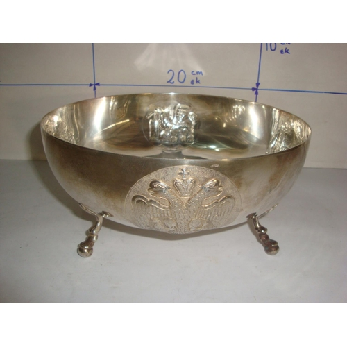 48 - Vintage Cypriot Silver 830 Footed Bowl with Embossed Designs (525gr)...