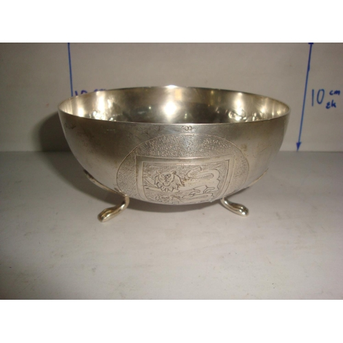 51 - Vintage Cypriot Silver 830 Footed Bowl with Embossed Designs (138gr)...