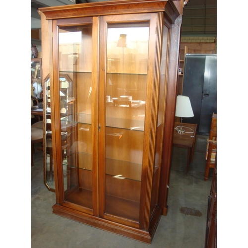 46 - Solid Wood Vitrine Display Glass Cabinet with Glass Shelves...