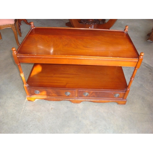 44 - Solid Wood Vintage 2-Tier TV Stand with Two Drawers...