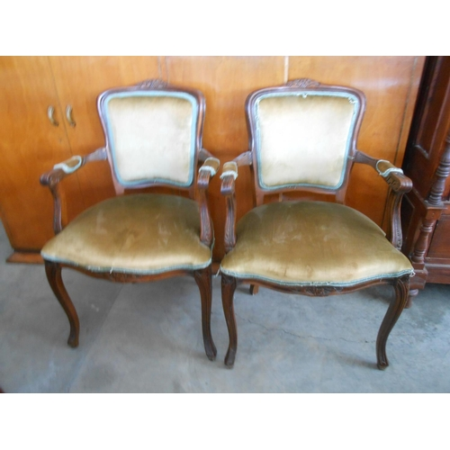 11 - Antique/Vintage Carved Wood Upholstered Armchairs...