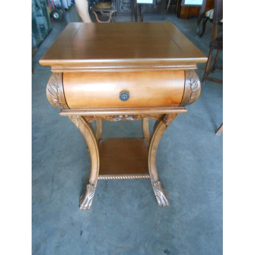6 - Ornate Side Table/Flower Stand with Drawer...