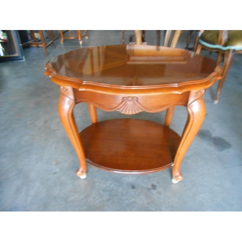 9 - 2-Tier Marquetry Side Table...