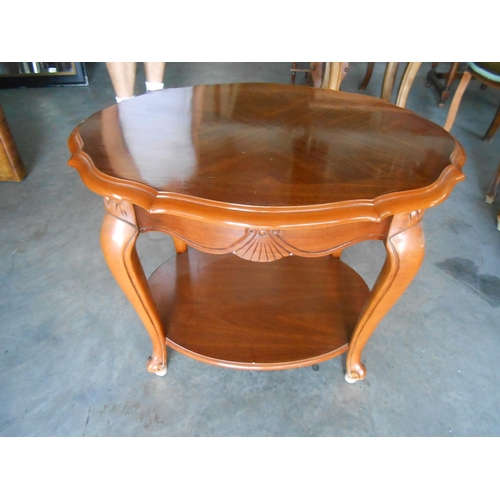 35 - 2-Tier Marquetry Side Table...