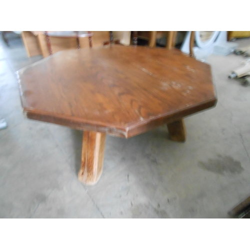 32 - Solid Oak Large Octagonal Coffee Table...