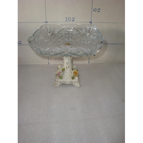 14 - Crystal Bowl with Porcelain Pedestal and Encrusted Roses...