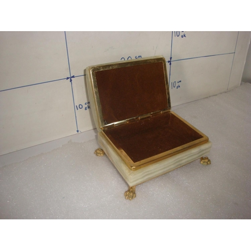 15 - Vintage Onyx Stone Brass Claw Foot Jewelry Trinket box...
