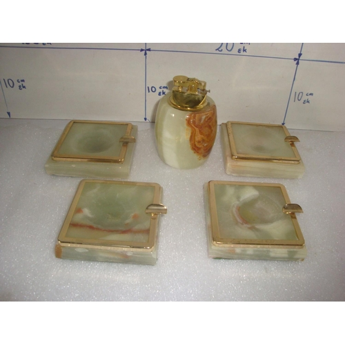 16 - Vintage Onyx Lighter with 4 Matching Ashtrays...