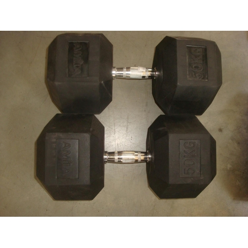 22 - Pair of Amila Hex Bodybuilding Dumbbells 50Kg-Code N/A...