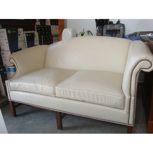 29 - Leather Love Seat 2-Seater Leather Sofa (a/f-Missing Leg)-Code AM7171K...