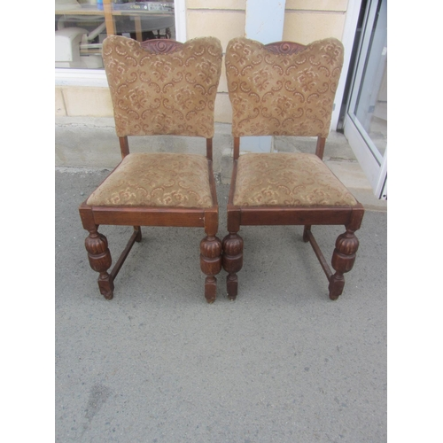 11 - Pair of Antique Solid Oak Upholstered Chairs...