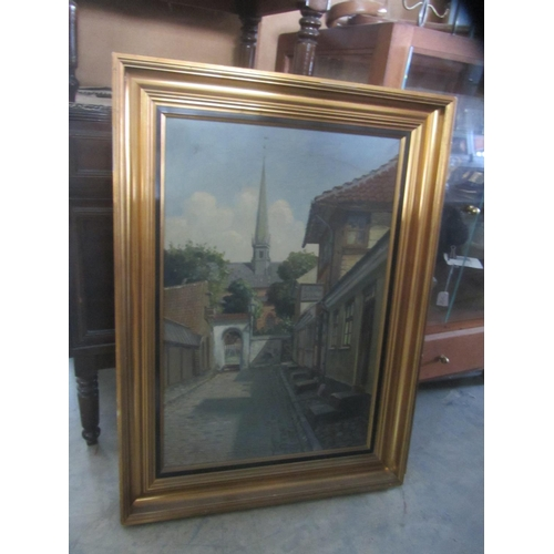 21 - Vintage Oil on Canvas 'Neighbourhood' Depiction (with Minor Defect)...