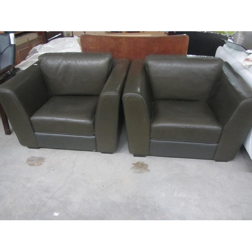 7 - x2 Vintage Brown Leather Armchairs...