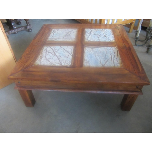 8 - Large Square Coffee Table with Marble Effect...