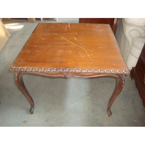 29 - Vintage Ornate Brown Wood Coffee Table...