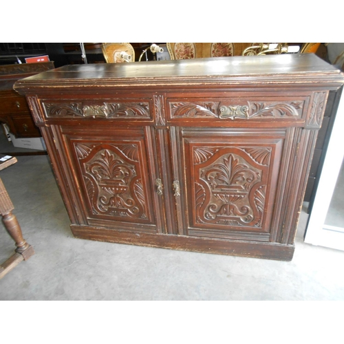 35 - Antique Buffet/Sideboard with Carved Details (From Old Belgian Church)...