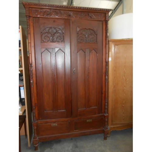 37 - Large Antique Hand Carved Double Door Armoire/Wardrobe...