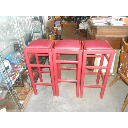 18 - x3 Red Wooden Upholstered Stools...