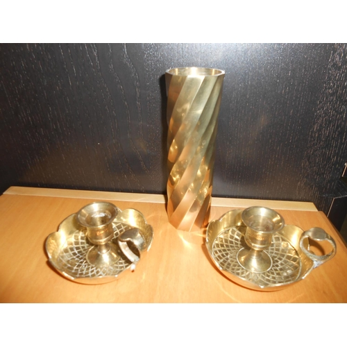 38 - x3 Solid Brass Candle Holders and Vase...