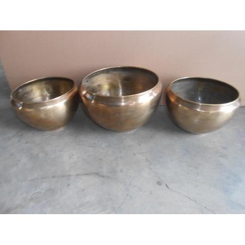 39 - x3 Solid Brass Flower Pots...