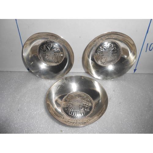 41 - x3 Silver 830 Hallmarked Small Bowl...