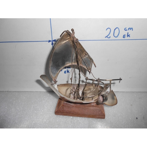45 - Vintage Silver Sail Ship Model on Wooden Stand...
