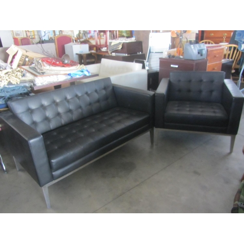 27 - Black Leather Two Seater Sofa and Armchair...