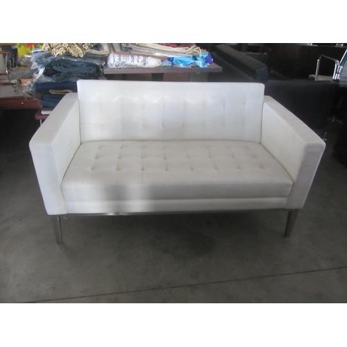 28 - White Leather Two Seater Sofa...