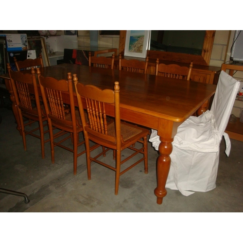 54 - South African Yellow Wood Hand Made Dining Table with Eight Handmade Wicker Chairs with Covers...