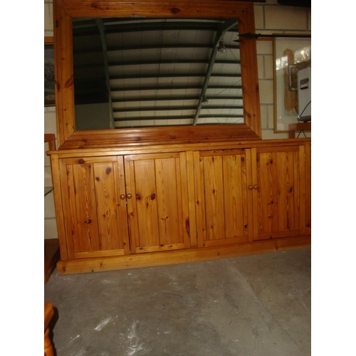 55 - Pine Wood Buffet Unit with Large Mirror...