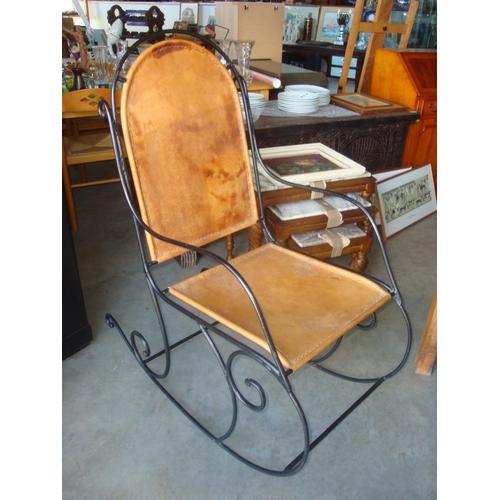5 - Vintage Camel Skin Rocking Chair...