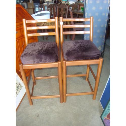 7 - Pair of Velour Upholstered Wooden Bar Stools...