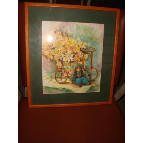 43 - 'A.Habizkova 98' Painting Depicting Flower Boy...