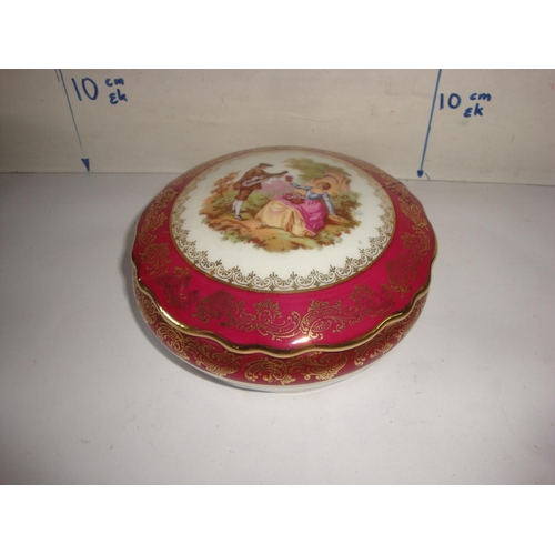 10 - Limoges France Porcelain Candy Lidded Trinket Dish with White Red Rim Gold Accents...