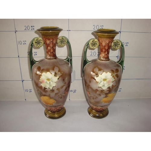 15 - Pair of Vintage Brown Ornate Flower Vases...