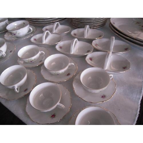 16 - Vintage Czechoslovakian Porcelain Gold Rimmed Floral Dinner Set (131pcs)...